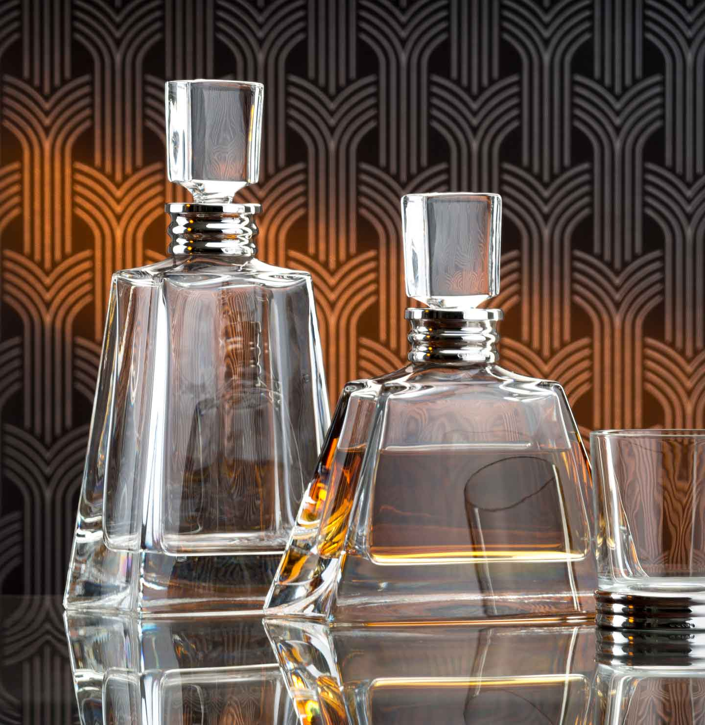 Decanters, funnels and labels in Sterling Silver, Pewter or Crystal