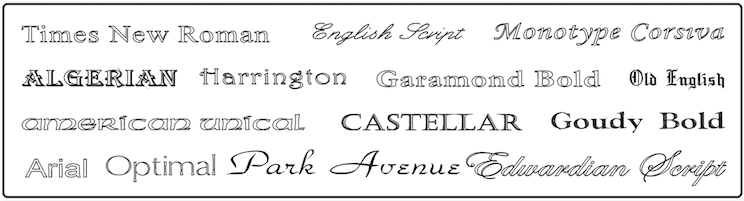Choose your typeface for personalisation