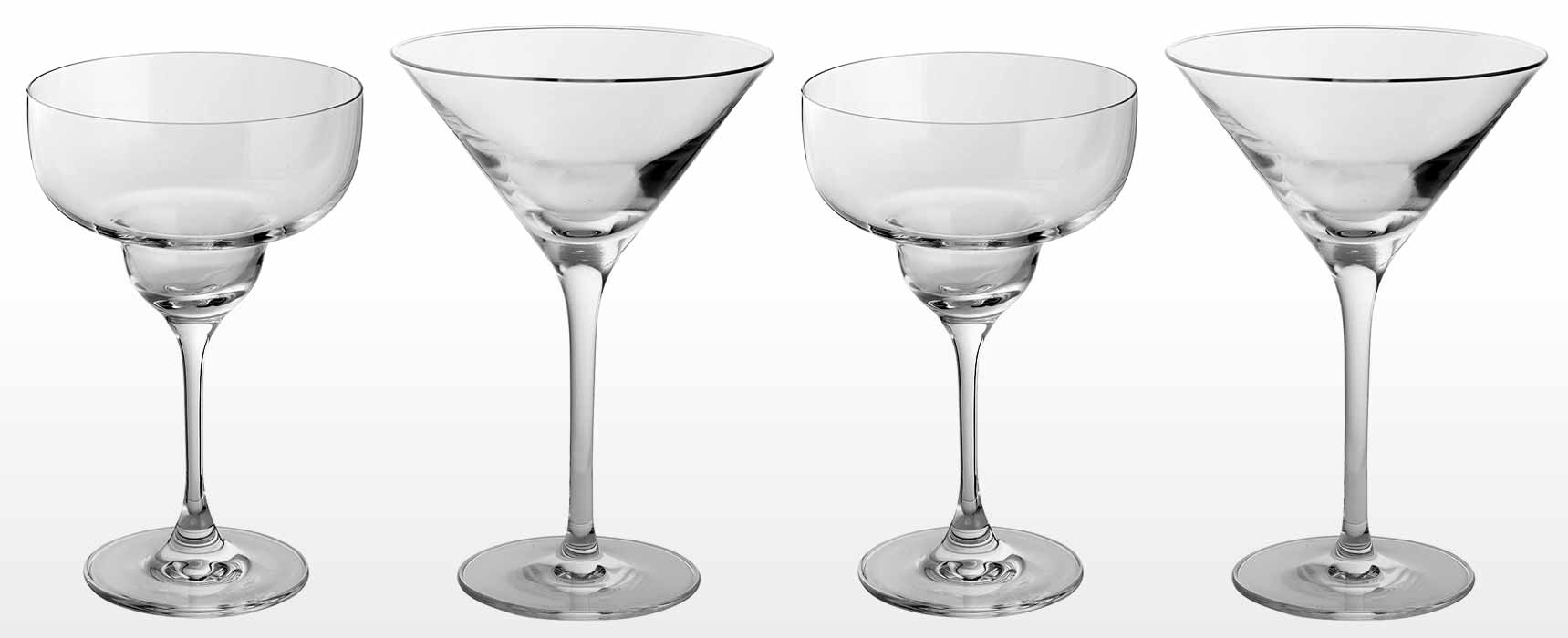 Fine Crystal and glass cocktail and gin glasses
